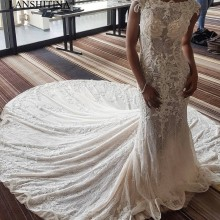 LANSHITINA Full Lace Wedding Dresses Jewel Court Train