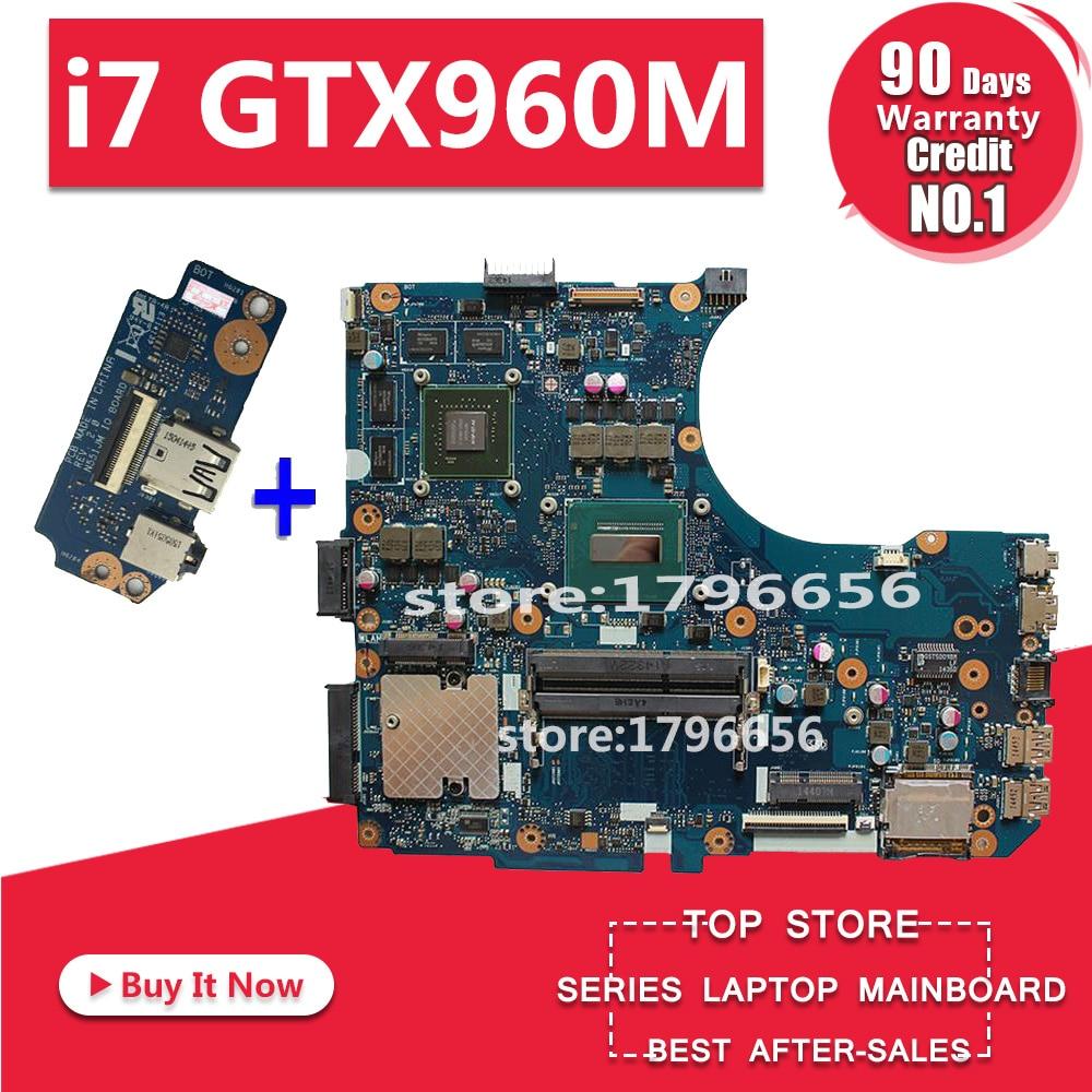 Envoyer conseil + G551JW Carte Mère i7 GTX960M Pour ASUS G551JM N551JW N551JX N551JQ G551JK G551JW Mère d'ordinateur portable G551JW Carte Mère
