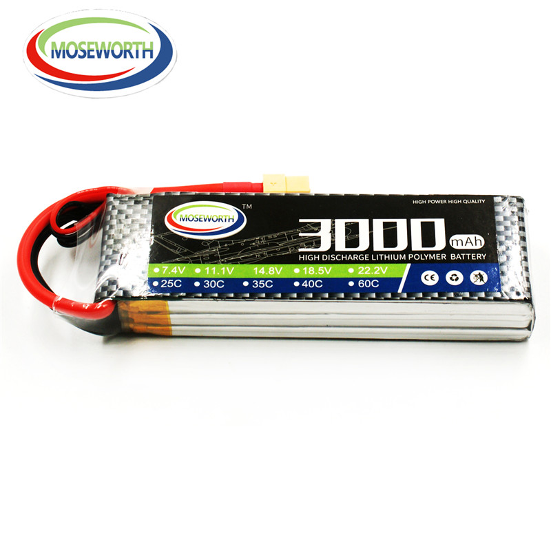 MOSEWORTH 3S RC Drone Lipo Battery 11.1v 3000mAh 40C-80C For RC Airplane Whirlybird Quadcopter Lithium Batteria free shipping 3 6v 2400mah rechargeable battery pack for psp 3000 2000