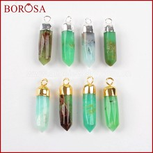 BOROSA Clearance Sale 5PCS Gold Color Natural Australia Jades Natural Stone Druzy Spike Charm Pendant for Jewelry G1377 S1377(China)