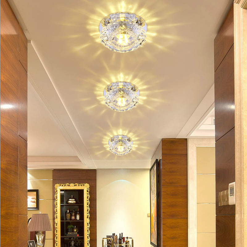 10cm LED Ceiling Light For Home Decoration 3W Crystal Lamp