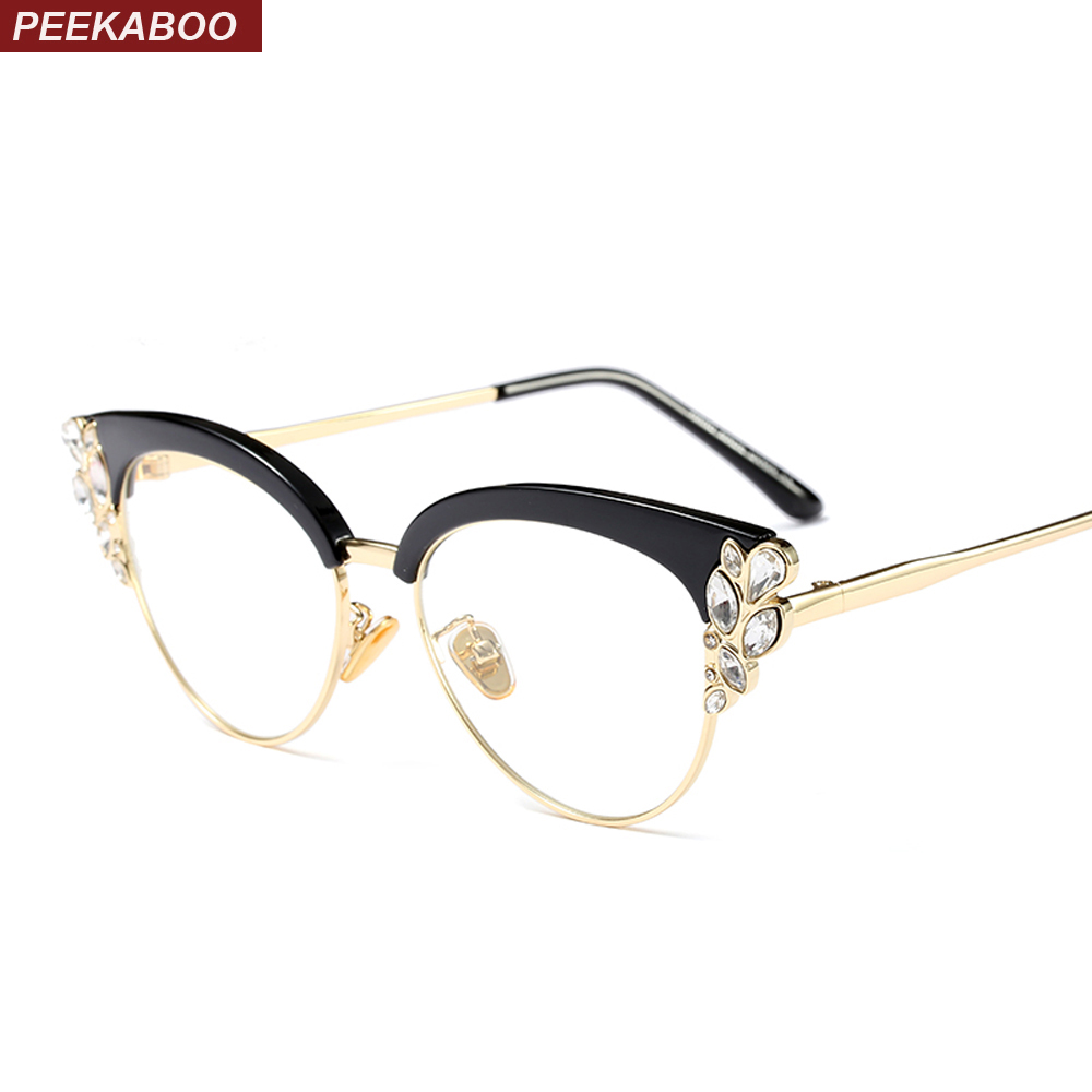 c4a3fb5d8a876 Peekaboo rhinestone cat eye glasses frames for women brand designers 2018  luxury sexy eyeglasses cat eye black