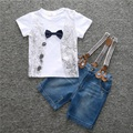 3 pcs Do Bebê Dos Miúdos meninos Outfits cinto + Top T-shirt + Calças Jeans Roupas Definir 2-8Years crianças em geral shorts jeans