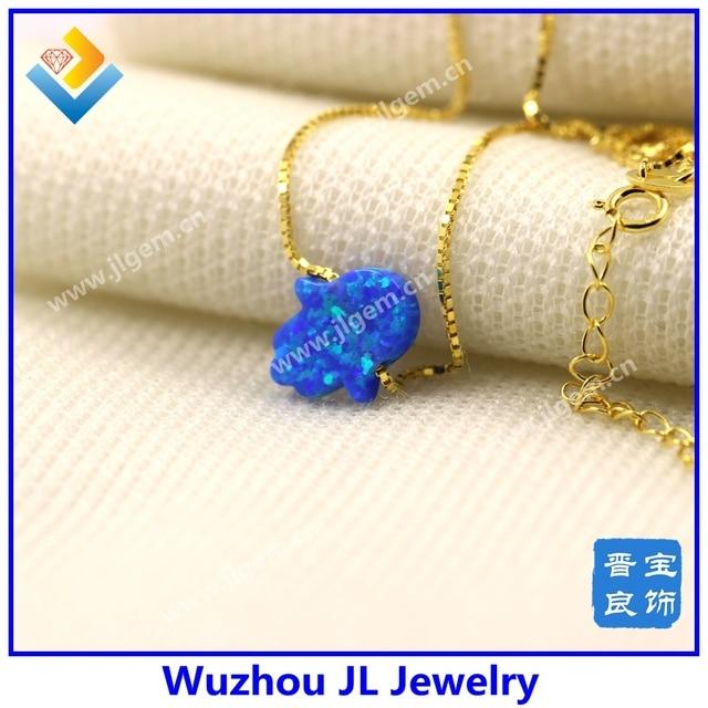 (5 Unids/lote) OP27 Azul Oscuro Fuego de Moda Chapado En Oro Hamsa/Mano Collar Colgante de Ópalo Sintético Para Las Mujeres