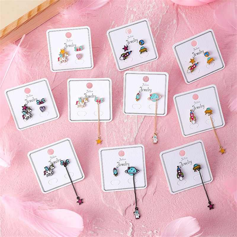 MINGQI Korean Cute animal Unicorn Earrings stud sweet star heart shape Pentagram Spaceship long Earrings women fashion jewelry
