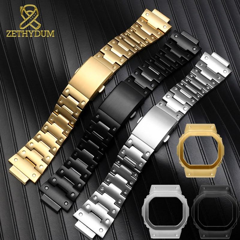 Pulseira de aço inoxidável sólido para casio GW-M5610 DW5600 GW-5000 DW-5030 G-5600 faixa de relógio e caso de quadros de metal sólido pulseira