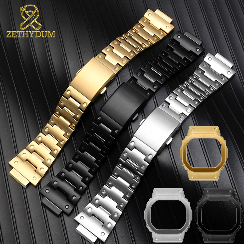 Solid Stainless Steel Watchband For Casio GW-M5610 DW5600 GW-5000 DW-5030 G-5600 Watch Band And Frame Case Solid Metal Bracelet