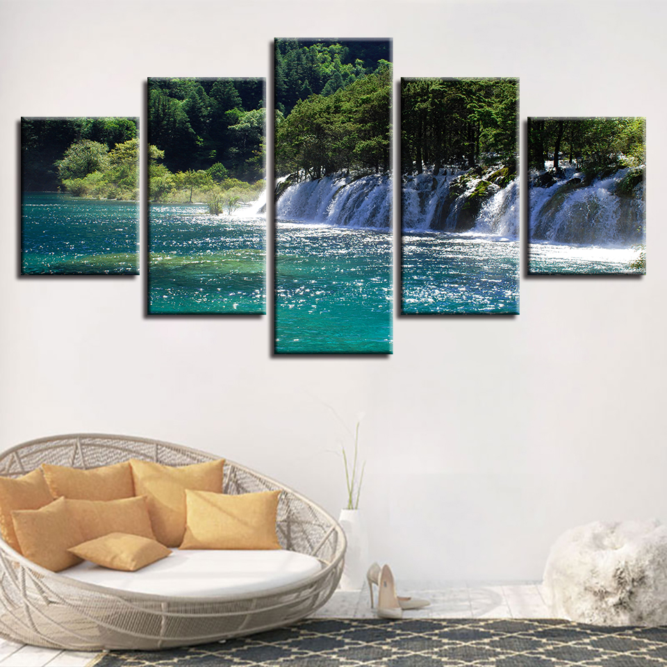 Forest Lake Fabric Home: Home Decor Living Room Painting 5 Pieces Waterfall Forest