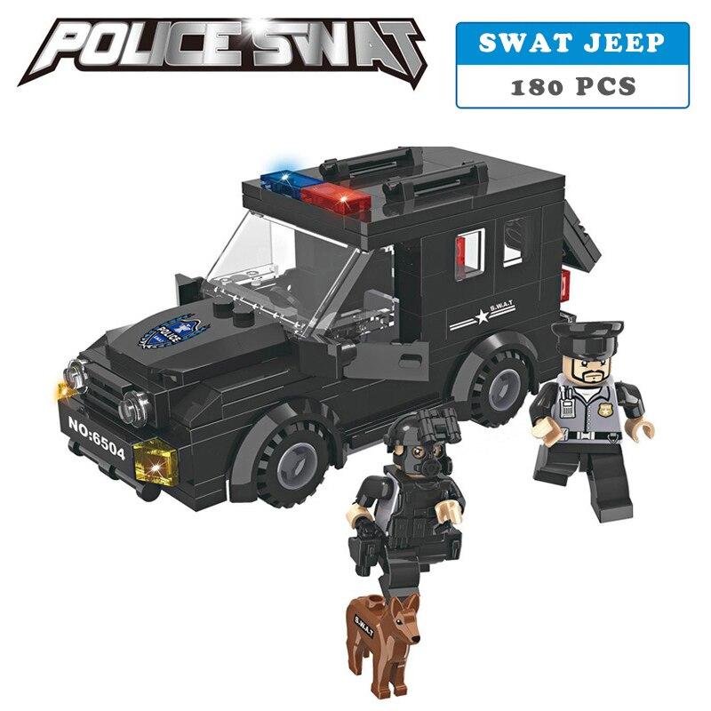 Galleria fotografica Stazione di polizia SWAT Serie Armored car jeep Militare Modello 3D building blocks compatibile con <font><b>lego</b></font> Ragazzo di città Giocattolo hobby Regalo