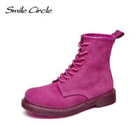 2017New Fashion Autumn Winter Platform Ankle Boots Women Lace Up Martin Boots Ladies Worker Boots High