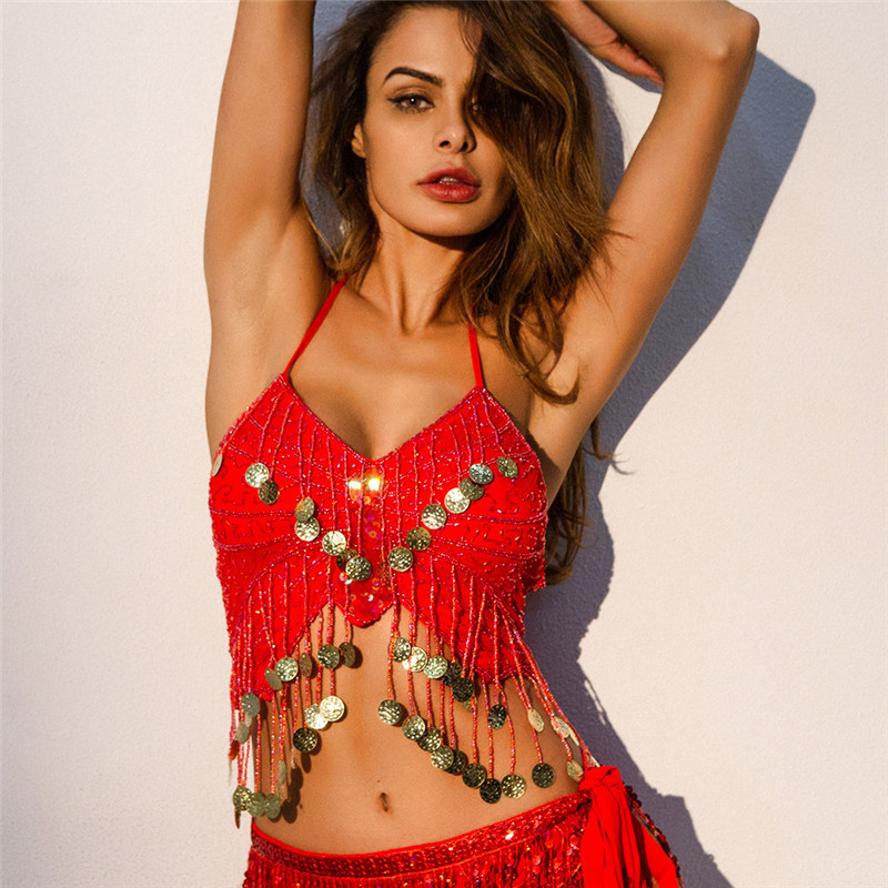 <font><b>Sexy</b></font> Women V-Neck Halter Sequin Beaded Tassel Butterfly Top Back Lace-Up Belly Dance Cami Top <font><b>Festival</b></font> Club Crop Top <font><b>Outfits</b></font> image