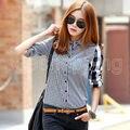 Женщины Леди OL одежда рубашки Лето С Длинным Рукавом Свободные Повседневная Рубашка Топы Блузка Дамы Футболка Топ 8-20