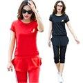 2016 Mulheres Verão Sportswear Agasalho Traje Casual twinset t top camisa chiffon babados + Capri Cropped pant além disso sizeXXXXL