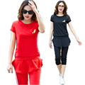2016Summer Women Sportswear Tracksuit Casual Costume twinset t shirt top chiffon ruffled+Capri Cropped pant plus sizeXXXXL