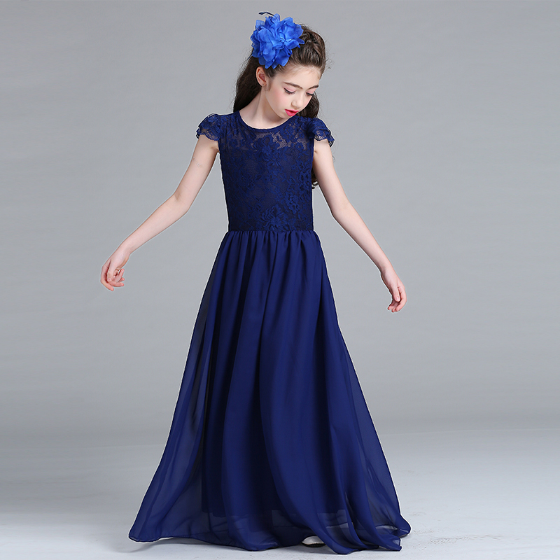 Children Kids Girls Dress Trendy Girl Evening Chiffon Long Prom Dress Lace Heart Neck Wedding Bridal Dress Costumes Dress see through lace chiffon dress