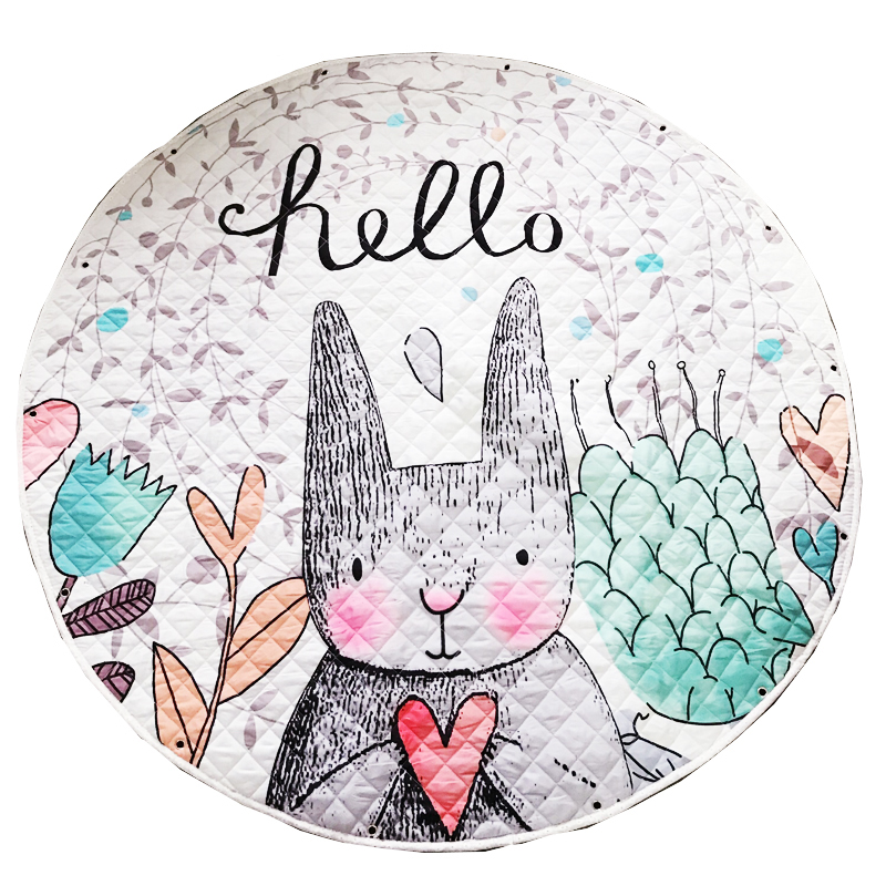 Kids Baby Play Mats Toys Storage Bag Round Carpet Rugs Large Canvas Rawling Mat Portable Cartoon Toys Sundries Pouch Blanket