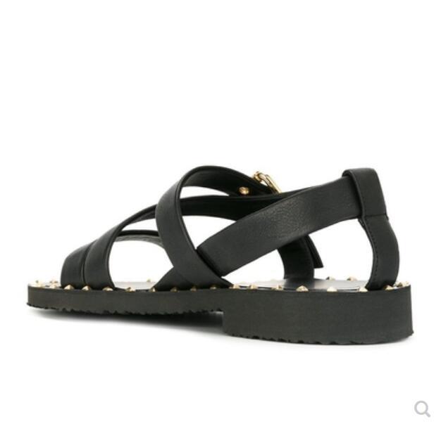 Sandálias Praia Fresco 2018 Genuíno Cross Flats Studs Verão Couro 1 Sapatos Gladiador Sandalias strap Mens Moda wgIv7