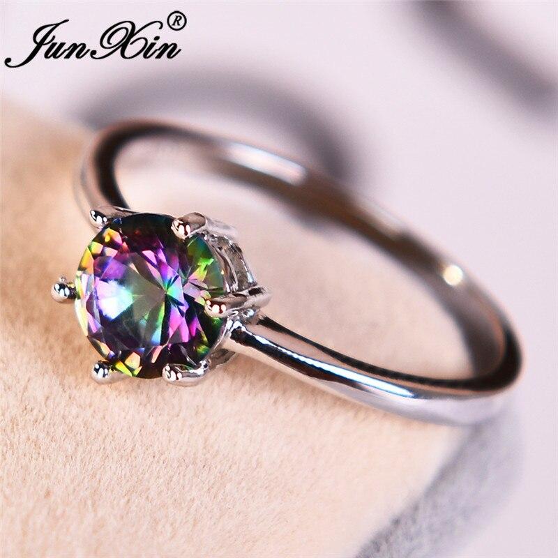 Женское кольцо с круглым камнем JUNXIN, обручальное кольцо серебристого цвета с шестью когтями, с фианитом, по месяцу рождения