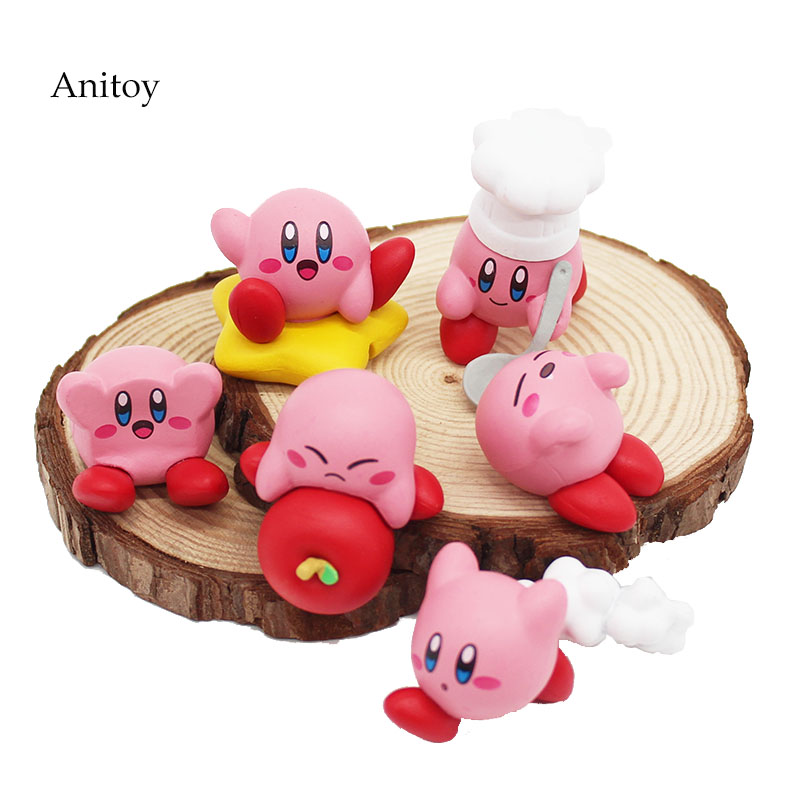 6pcs/set Anime Cartoon Cute Kirby  PVC Figures Toys With Keychain Pendants 4cm KT4162