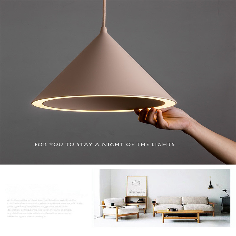 Image 2 - Nordic Creative Macaron Restaurant LED Chandelier Personality Aluminum Aura Color Lamp Simple coffee Shop Lamps Free Shipping-in Pendant Lights from Lights & Lighting