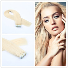 16″-26″Tape In Human Hair Extensions 20 Pieces Skin Weft Hair Extensions #613 Bleach Blonde