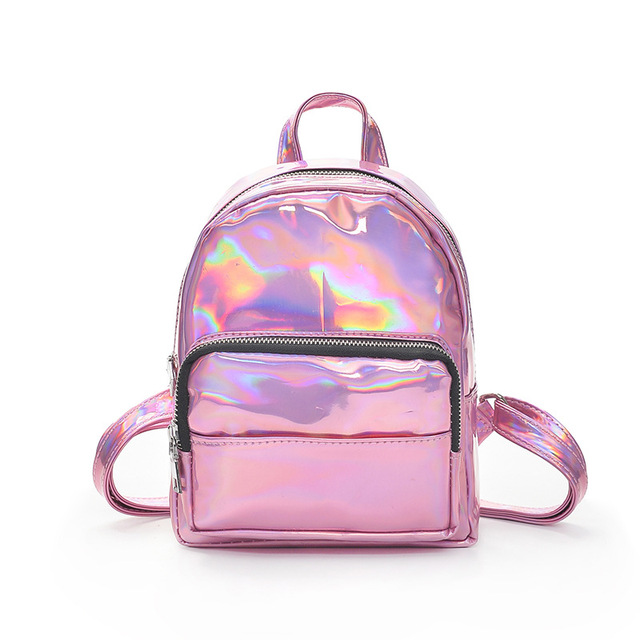 Fashion Candy Color Silver Pink Tote Bag High Quality PU Leather Women  Small Backpack Korean Style Girls College Student Daypack 6190cb82d0236