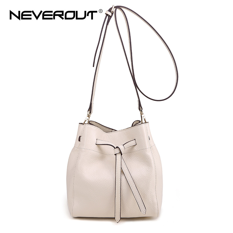 NeverOut New Arrival Women Genuine Leather Bucket Bag Solid Brand Design Crossbody Bags Shoulder Sac Casual Small Messenger Bag top quality gongzheng polaris inkjet printer ink filter spare part for sale