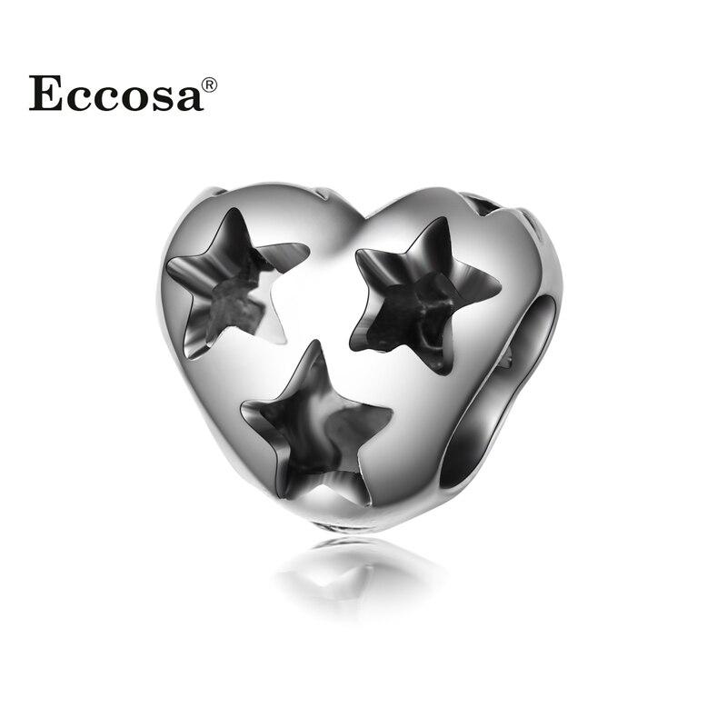 Silver Plated High Quality Bead Charm European Star Heart Shape