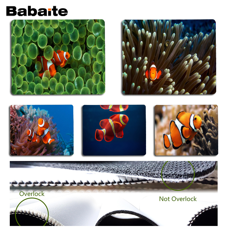 Babaite Top Quality Clownfish Computer Gaming Mousemats Size for 18x22cm 25x29cm Rubber Mousemats ...