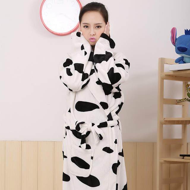4e592613b7 placeholder Lover Couple Sexy Winter Warm Adult Cow Sleepwear Casual Flannel  Cute Pyjama Bath Robe Women