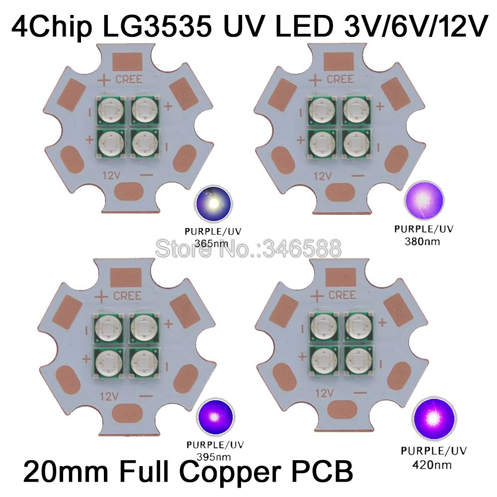 3V / 7V / 14V Epileds 3535 4Chips 4LEDs 12W High Power <font><b>LED</b></font> Emitter <font><b>UV</b></font> / Ultraviolet 365nm <font><b>380nm</b></font> 395nm 420nm 20mm Copper PCB