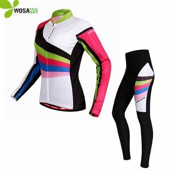 WOSAWE Pro Equipe de Manga Comprida Ciclismo Jersey Define Mulheres Apertado Magro Sportswear Ciclismo MTB Da Bicicleta Da Bicicleta Gel Acolchoado Roupas Ciclo