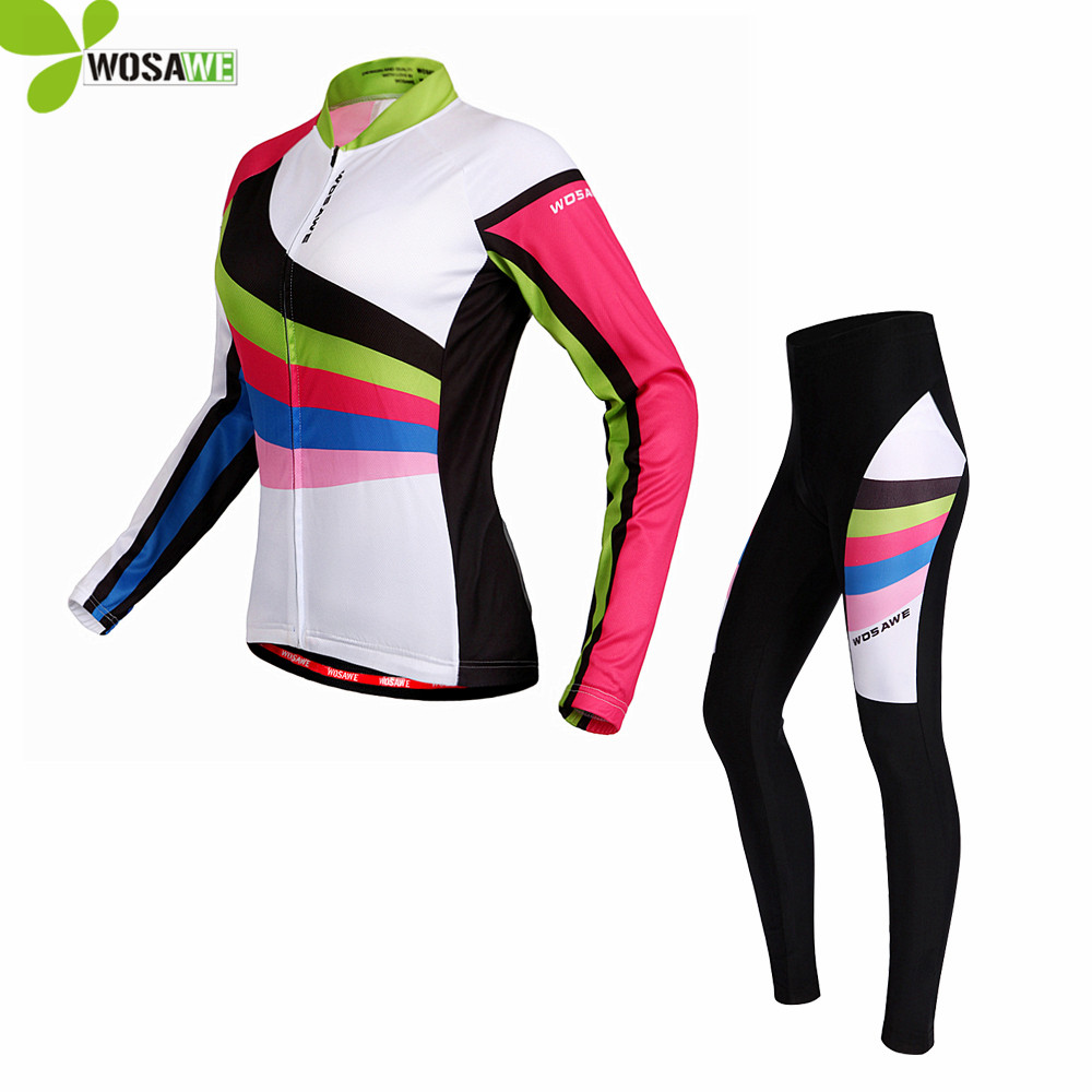 цена WOSAWE Pro Long Sleeve Cycling Jersey Sets Women Team Sportswear Ropa Ciclismo Mtb Bike Bicycle 3D Gel Padded Cycle Clothing