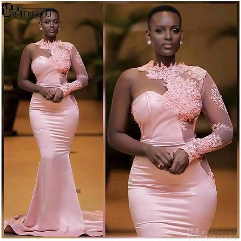 Pink Mermaid Evening Dresses 2019 One Shoulder Appliques Lace Dubai Saudi Arabic Long Sleeves Evening Gown Prom Dress