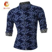 Long Sleeve Navy Blue Shirts Men High Quality Spring Mens Floral Print Shirt Slim Fit Camisa