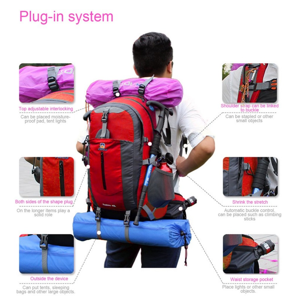 40L Men Women Waterproof Camping Hiking Backpack Outdoor Sports Bag Travel Trek Rucksack Mountain Climbing Bag Computer Bag 2017 40l waterproof nylon travel hiking backpack climbing rucksack camping equipment hiking cycling outdoor sports bag