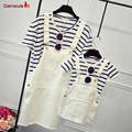 Family mother father daughter set cotton stripe short-sleeve t shirt+white Strap dress mom baby girl clothing set family costume
