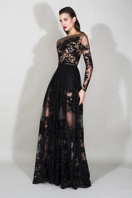 0e7c679b686 Resort 2016 Zuhair Murad Black Lace A Line Prom Dresses Illusion