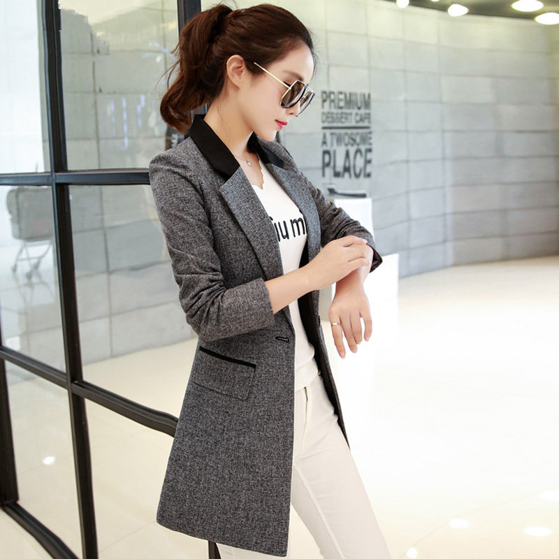 2019 Spring Autumn Suit Jackets Women Basic Coats Long Blazer Feminino OL Work Blazers Slim Gray Elegant Suit Jacket 3XL C3578