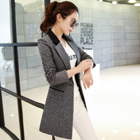 2019 Spring Autumn Suit Jackets Women Basic Coats Long Blazer Feminino OL Work Blazers Slim Gray Elegant Suit Jacket 3XL C3578