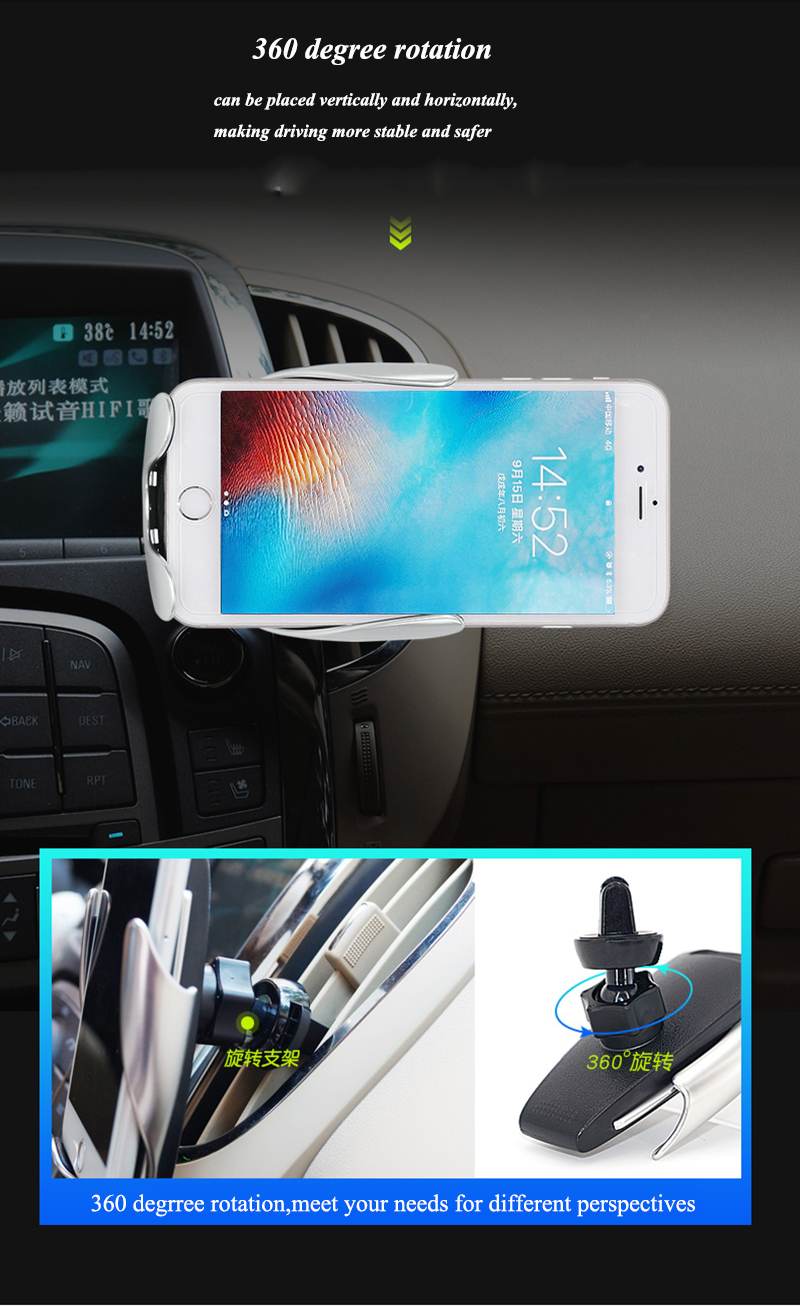 10W Fast Wireless Charger Auto Clamp Charging Holder for iphone XR XS  Samsung S9/S9+ S8 Note9 Qi Certified Air Vent Mount