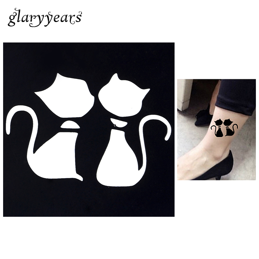 1pc Cartoon Cat Waterproof Tattoo Stencil Woman Body Art Airbrush Painting  Small Henna Indian Tatoo Sticker Stencil 2018 Hot G18 aa599b6214