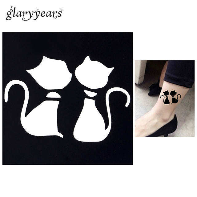 Online Shop 1pc Cartoon Cat Waterproof Tattoo Stencil Woman Body Art