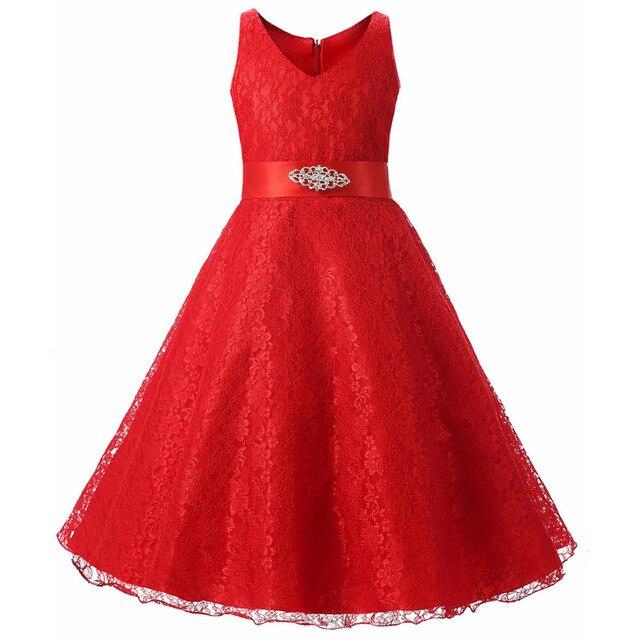Elegant Toddler kids Princess Wedding Formal dress with Flower Embroidery  Ribbons Bow Belt Crochet Vest dresses for Girl clothes 149fcd8c5f7b