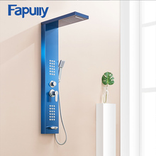 Fapully Bathroom Shower Panels Stainless Steel Sapphire Rain Waterfall Shower Panel Massage System Shower Column with Jets  new waterfall fashion luxury gold shower column shower panel hand shower massage jets stainless steel plate shower faucet