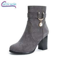 CarziCuzin Big Size 34 48 Women High Heel Boots Fur Winter Shoes Zipper Beads Accessory Ankle Boots Shoes Woman Winter Footwear