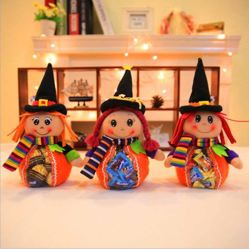 Cute Witch Doll Candy Bag Funny Halloween Gift Bags Holiday Supplies Creative Trick or Treat Bag Goodie Storage Holder For Kids
