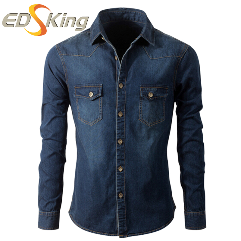 Denim Shirt Men 2017 Dress Fashion Social Dark Blue Casual Cotton Shirt Long Sleeve Camisa Jeans ...