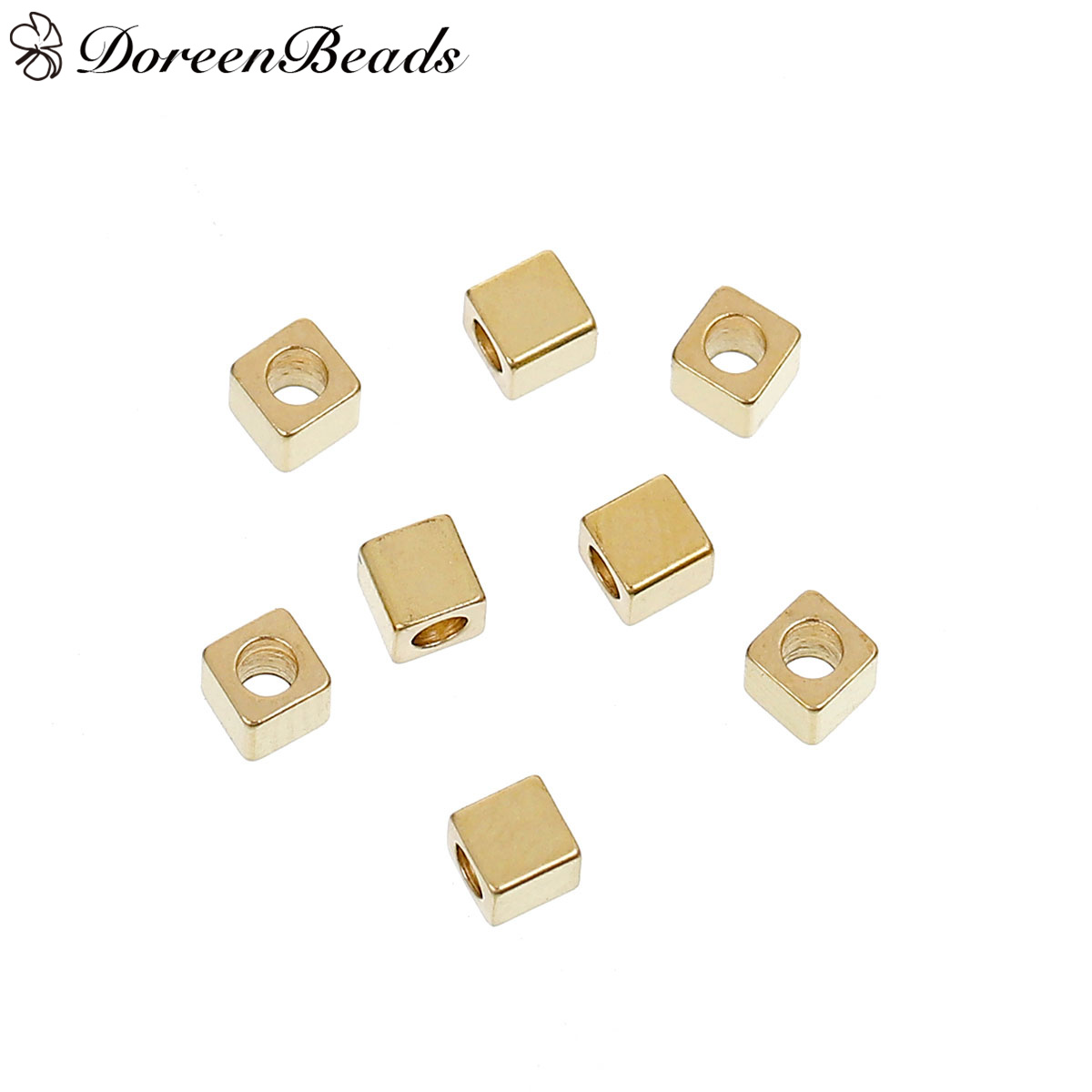 Jewelry & Accessories d376 10 Pieces 5.5mm Hole 3mm 24k Champagne Gold Color Brass Cube Cross Large Hole Beads Spacer Beads High Quality Accessories Cheap Sales