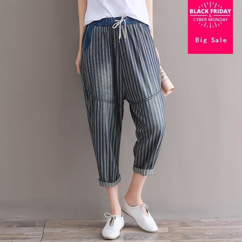 6XL plus size Fashion brand elastic jeans Women's cotton cool denim striped   pants     capris   Female casual harem jeans wj2653